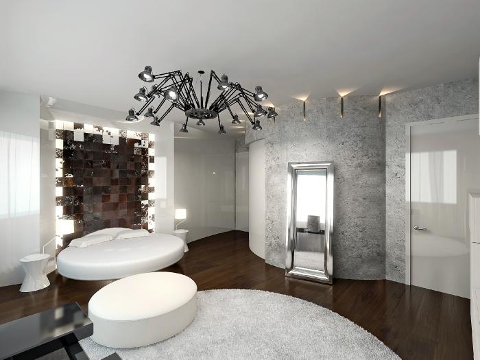 Дизайн интерьеров спальни в таунхаусе. Вид на кровать.